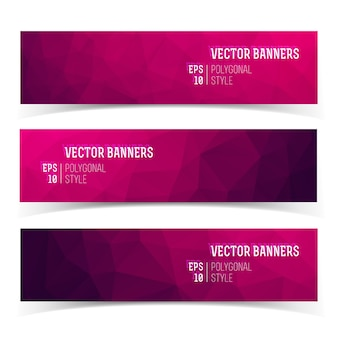 Set of modern horizontal banners with polygonal crystal structure in purple shades