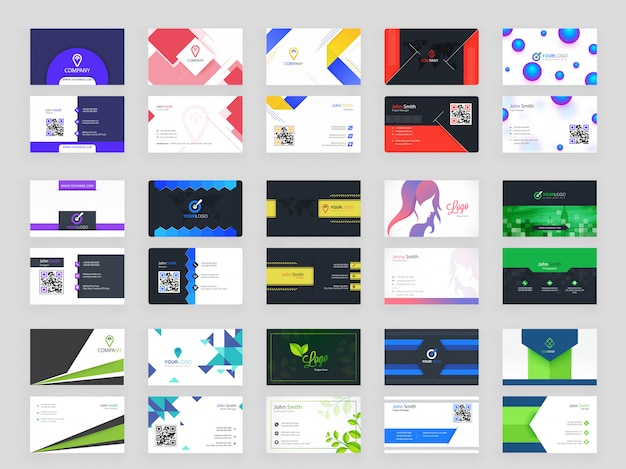 Set of modern horizontal business card template
