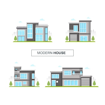 Набор современного дома коллекции домашнего архитектора иллюстрации фоне здания