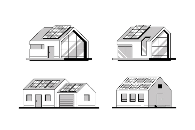Set of modern houses with solar panels on the roof isolated.