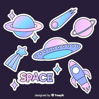 Set of modern illustrated space stickers