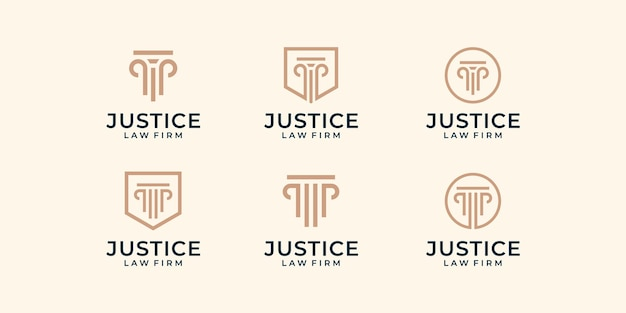 Set of modern law firm justice logo design   graphic template.