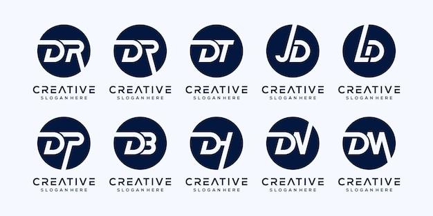 Set modern letter d logo template