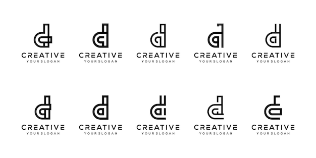 Установить современный буква d логотип шаблон