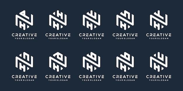 モダンな文字hのロゴデザインを設定します