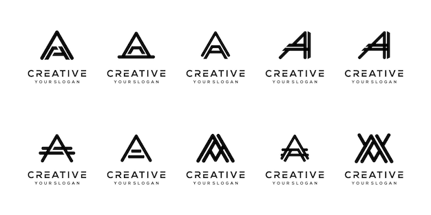 Set modern letter a logo design