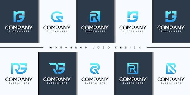 Set modern letter rg logo design
