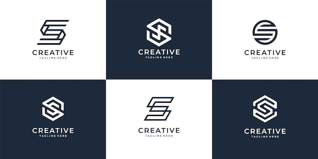 Set of modern letter s logo icon collection for modern company.