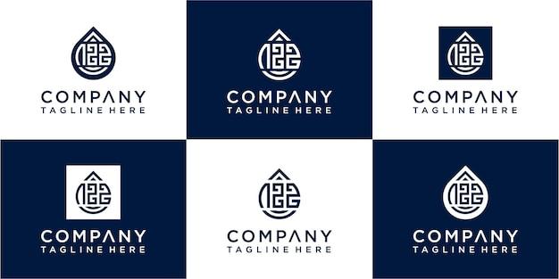 Set of modern letter sos moogram logo design