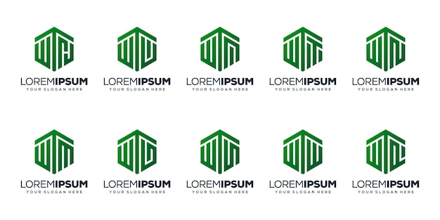 Set modern letter w logo design