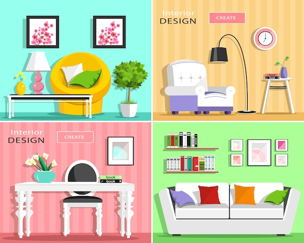 Set of modern living room interior elements: sofa, armchair, chair, table, lamp, shelves, pictures.    illustration.