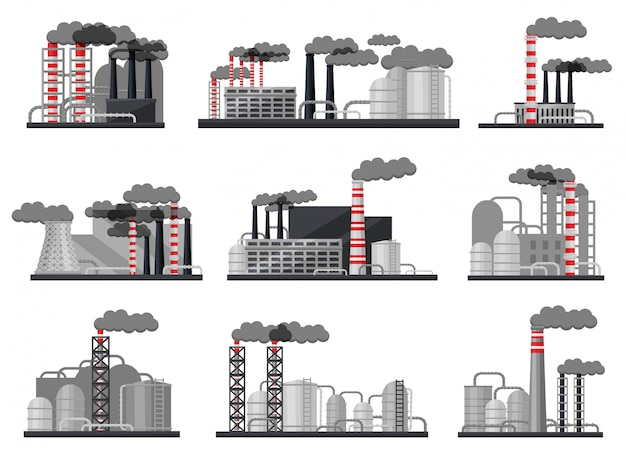 Set of modern manufacturing factories. industrial buildings, large metal cisterns and smoking pipes
