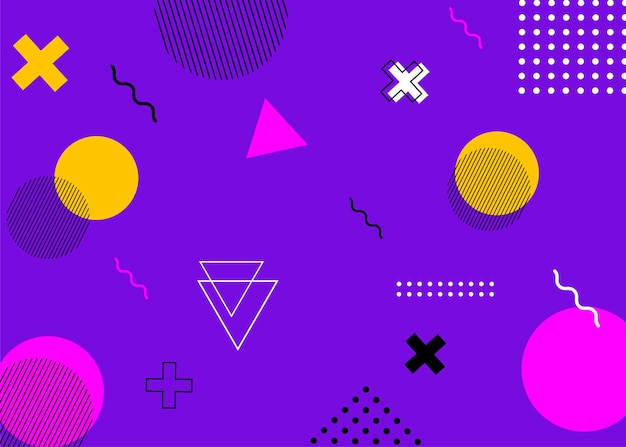 Set of modern memphis style covers. colorful geometric background can be used brochure design, flyer, web banner, ads poster, magazine, flat cover for web. vector illustartion. Premium Vector