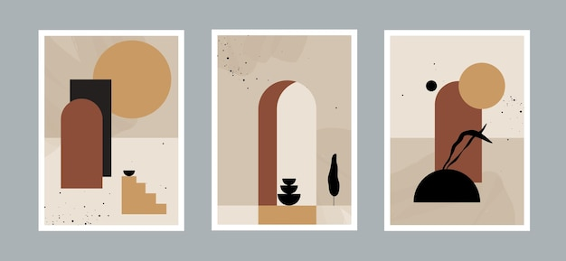 Set of modern minimal abstract aesthetic background with desert landscape stairs leaf vases