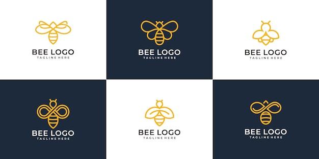 Set of modern monogram bee logo design   concept collection.