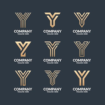 Set of modern monogram letter y logo design template