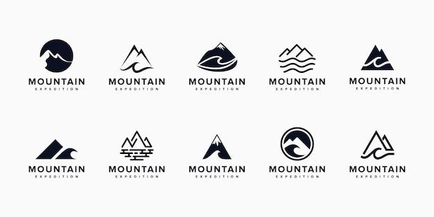 Set of modern mountain logo with unique concept, mountain, line art, outline