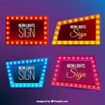 Set of modern neon billboards