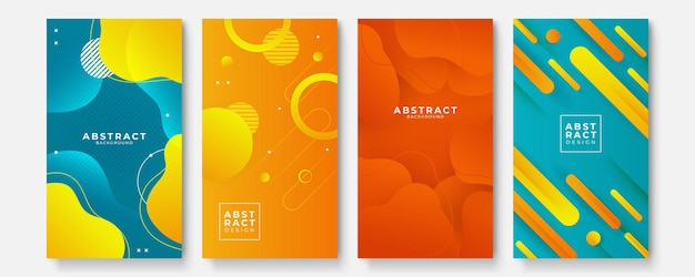 Set of modern orange yellow green red abstract geometric background