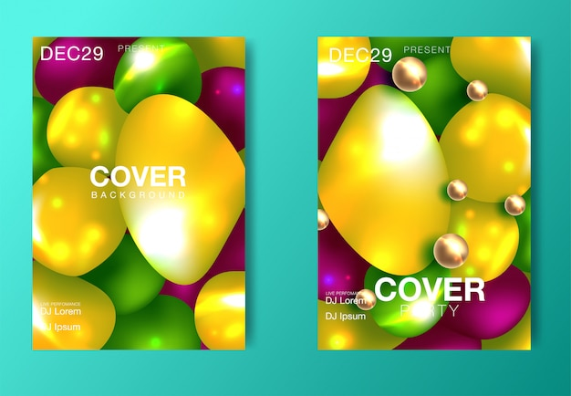 Set of modern party posters. colorful abstract psychedelic gradient backgrounds.
