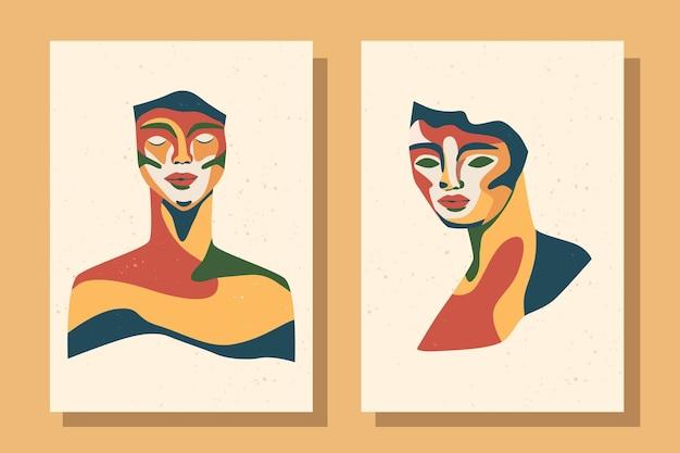 Set of modern posters sculpture portrait
