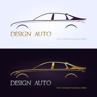 Set of modern premium car silhouettes.