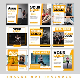 Set of modern promotion square web banner for social media