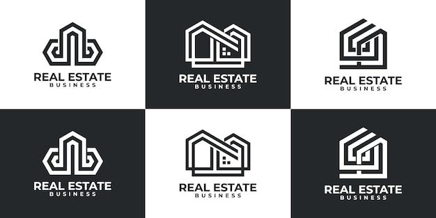 Set of modern real estate logo inspiration