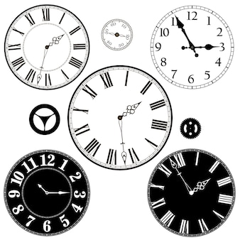 Set of modern and retro  clocks and parts.