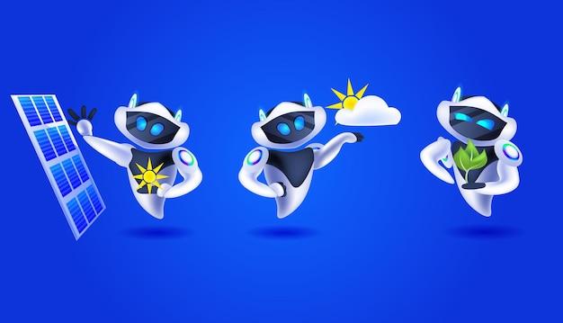 Набор современных роботов, стоящих рядом с солнечной панелью, альтернативные возобновляемые источники зеленой энергии, экология, концепция искусственного интеллекта, горизонтальная векторная иллюстрация