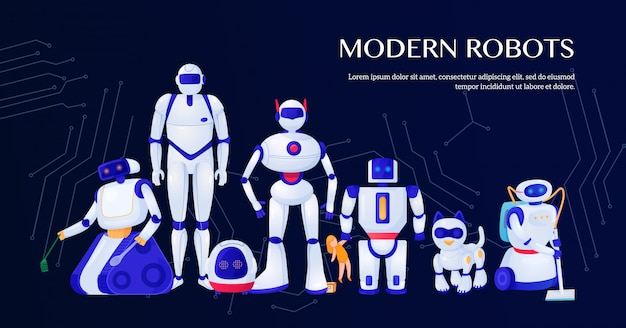 Set of modern robots with integrated circuit elements illustration
