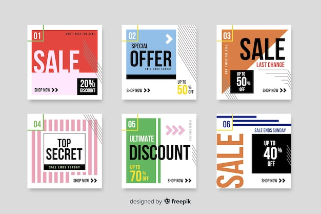 Set of modern sale banners for social media