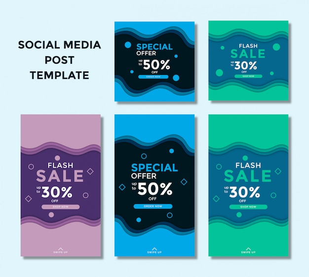 Set of modern sales square banner and story for instagram
