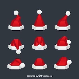 Set of modern santa claus hats