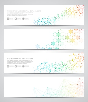 Set of modern scientific banner set of molecule structure dna and neurons