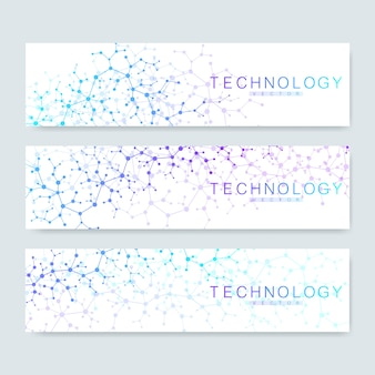 Set of modern scientific banners. modern abstract background molecule structure for medical, technology, chemistry, science. connecting lines and dots.
