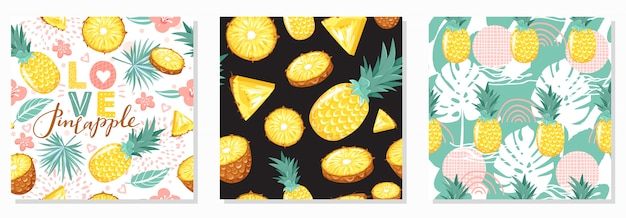 Set of modern seamless pattern with pineapple, flowers, leaves, abstract element and lettering. summer vibes.
