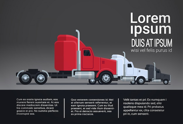 Set of modern semi truck trailer vehicle infographic template elements shipping and delivery concept