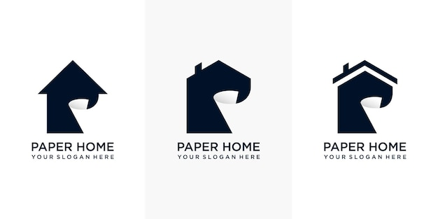 Set of modern simple home paper logo designs with business card.coat of arms of a paper mill.the apple as a roll of paper. premium vector