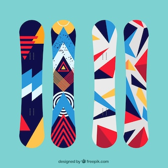 Set of modern snowboards in geometric style