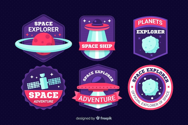 Set of modern space stickers