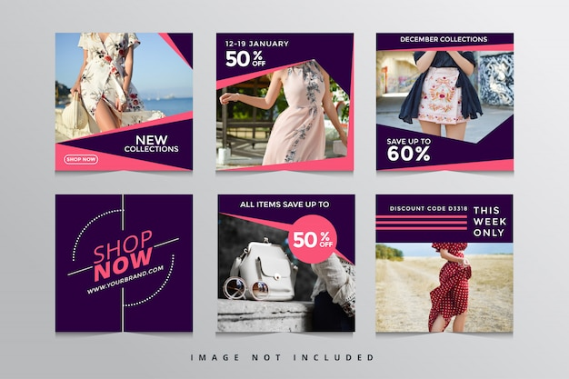 Set modern square  banner templates social media