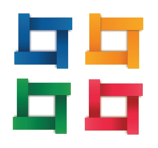 Set of modern square isolated color frame template