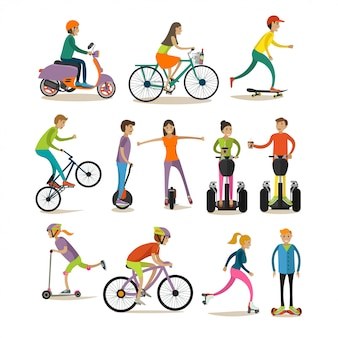 Set of modern street, sport transport concept design elements