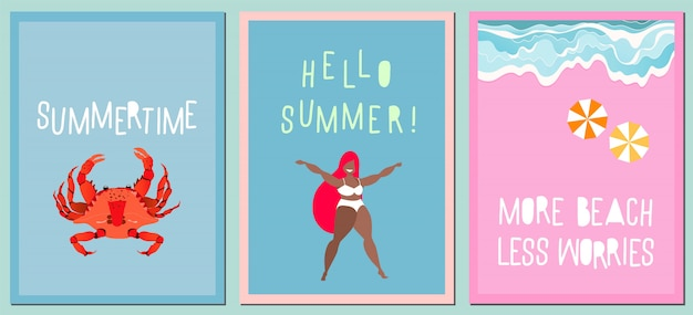 Set of modern summer greeting cards. variety of hand-drawn  cards, posters. modern handwritten quotes about summer. vacation and travel concept. waves on the sea shore, red crab and happy girl.