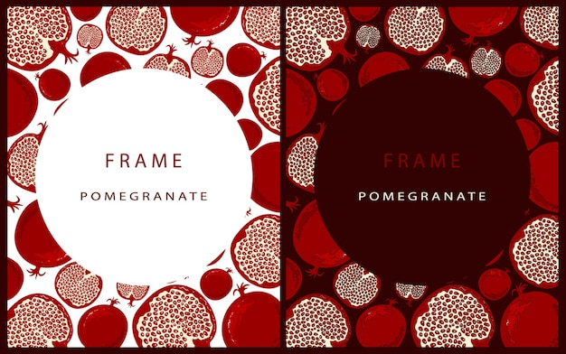 Set of modern template with pomegranate on a burgundy background with round place for text. frame with pomegranate. cards with fruits in the style of hand drawing