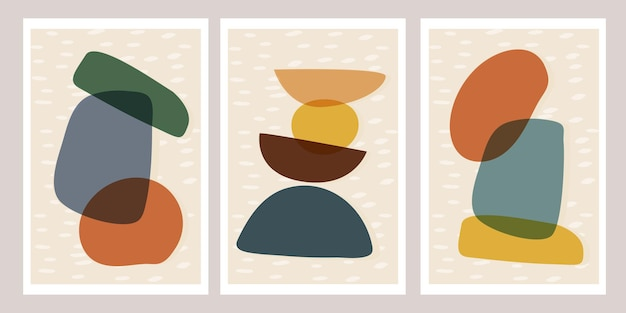 Set of modern templates with abstract composition of simple shapes