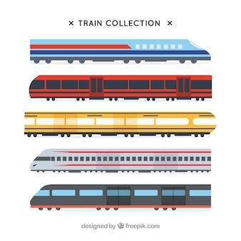 Set di treni moderni in design piatto