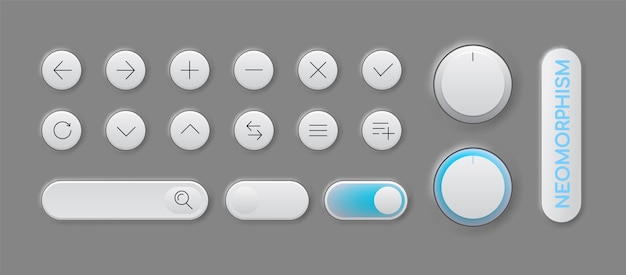 Set of modern trendy smoothy buttons for apps and website designs
