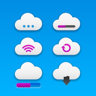 Set of modern trendy smoothy cloud buttons for apps and website designs. neomorphism